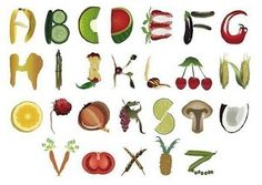 Fruit and Vegetable Alphabet by Nada Food Alphabet, Alphabet Quilt, Alphabet And Numbers, Alphabet Soup, Food Font, Logo Food, Food Typography, Name Paintings, Typeface Font