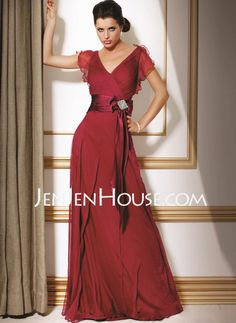 15a732ebd9  US  128.99  A-Line Princess V-neck Floor-Length Chiffon Mother of the Bride  Dress With Crystal Brooch Bow(s) Cascading Ruffles - JenJenHouse