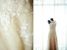 Nude colored wedding gown with lace applique on the bodice.