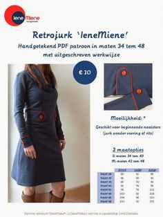 leuk makkelijk kleedje Blog Page, Retro Dress, Dress Patterns, Sewing Patterns, Mix Match, Sewing Projects, Factory Design Pattern, Patron De Couture, Sewing