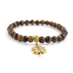 Gold GP Tigers Eye Beaded Clover Charm Stretch Bracelet Y107 + Black Diamond #Affinityfashionjewelry #Stretch