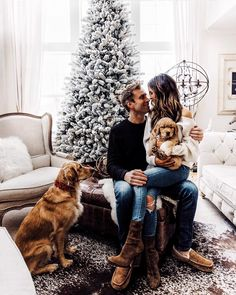 Here's the full story on why we did and what life with two puppies is like. Family Christmas Pictures, Christmas Couple, Holiday Pictures, Cute Pictures, Christmas Pics, Christmas Card Photo Ideas With Dog, Family Holiday, Christmas Puppy, Winter Christmas