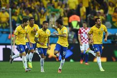 Brazil Jubilant after winning their match vs Croatia