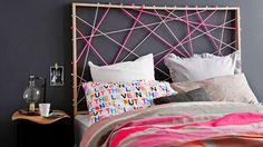 DIY: Wood and string headboard.