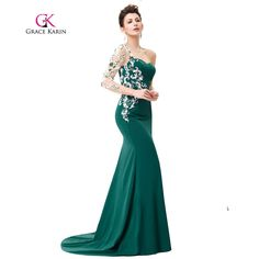 Asymmetrical Long Sleeve Evening Dress Grace Karin Appliques Lace Special Occasion Gowns Dark Green Mermaid Evening Dresses  #dress #style #fashionillustration #beautiful #styleoftheday #fun #sweet #LSN #copic #fashiondesigner