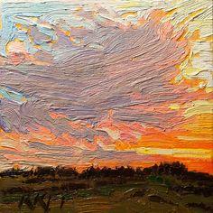 Ken Faulks Blogger: Sunset And Fields: 6x6 oil on panel