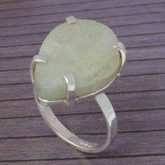 ROUGH STONE 925 STERLING SILVER RING JEWELLERY 5.67g DJR3987 #Handmade #Ring