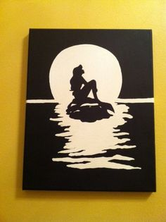 Original Acrylic Silhouette Painting of Ariel on a Rock
