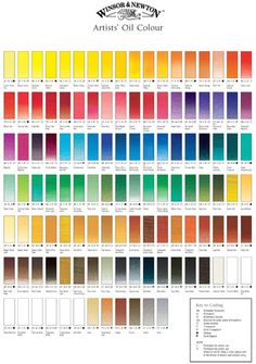 Winsor and Newton Artists Oils Hand Painted Colour Chart - Winsor & Newton - Art Supplies and Art Materials from Jackson's
