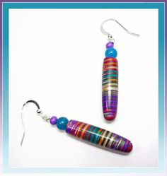 Rainbow Dangle Earrings Polymer Clay Jewelry by BeadazzleMe