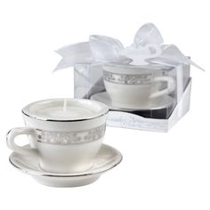 12ct Teacups and Tealights Miniature Porcelain Tealight Holders - Kate Aspen, White