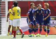 Japan's Yuika Sugasawa (15), Yuki Ogimi (17) and Asuna Tanaka (14) celebrate Ogimi's goal against Ecuador during the first half of a FIFA Women's World Cup soccer game in Winnipeg, Manitoba, Canada, on Tuesday, June 16, 2015. (John Woods/The Canadian Press via AP) ▼16Jun2015AP|Japan beats Ecuador 1-0, tops group with perfect record http://bigstory.ap.org/article/4bd753e5a203429fadce2007e1f4885f #2015_FIFA_Womens_World_Cup #Group_C_Ecuador_vs_Japan