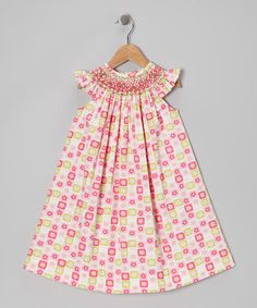 Take a look at this Pink Geometric Smocked Bishop Dress - Infant, Toddler & Girls by Silly Goose on #zulily today!