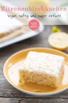 Vegan Lemon Cake Without Egg Baking makes you happy - Fluffy, juicy lemon cake without egg, butter & milk. The recipe for the vegan lemon cake from the t - Breakfast Cookie Recipe, Breakfast Dessert, Vegan Breakfast Recipes, Cake Mix Recipes, Cheesecake Recipes, Cookie Recipes, Lemon Cake Mix Cookies, Lemon Cake Mixes, Vegan Lemon Cake