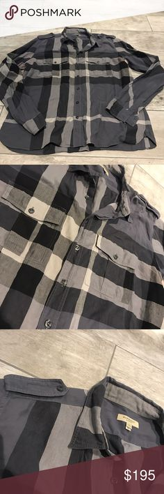 Men's Burberry check stretch cotton shirt Classic style button down in varying shades of charcoal gray. EUC Burberry Shirts Casual Button Down Shirts