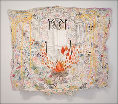 Rebecca Ringquist Garden Gate 2011 57 x 21 Embroidery and machine stitching on found fabric