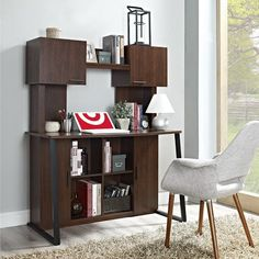Computer Desk with Hutch and Storage Cherry - Altra