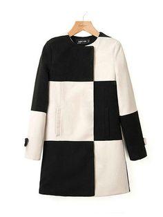 Women Hit Color Black White Plaid Stitching Windbreaker Wool Coat