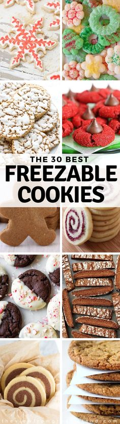 Here are the 30 BEST Freezable Cookies to get you set for the holidays in advance, yoohoo! These cookies are freezable, packable, giftable, and most importantly ~ IRRESISTIBLE! Chewy Ginger Cookies, Spritz Cookies, Buttery Cookies, Snowball Cookies, Sugar Cookies, Best Christmas Cookies, Holiday Cookies, Christmas Desserts, Christmas Balls