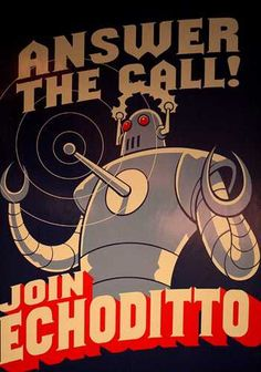 Answer the call! brill kitsch vintage robot based advertising poster art