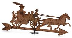 PAINTED SHEET METAL WEATHERVANE OF HORSE-DRAWN STEAM ENGINE, LATE 19TH/EARLY 20TH CENTURY, WEATHERED SURFACE.