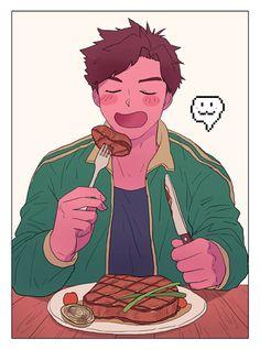 Stardew Valley art > Alex loves his steak dinner Stardew Farms, Stardew Valley Farms, Stardew Valley Tips, Stardew Valley Fanart, Pretty Drawings, Cartoon Games, Animal Crossing, Anime Guys, Fan Art