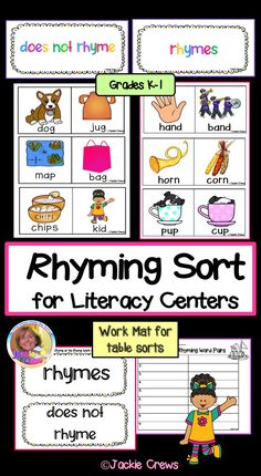 If you are looking for a fun way for students to learn word patterns and rhyming for your literacy center, this might be just what you need. The product has 36 card sets each with pictures and words that either rhyme or don't rhyme. #rhyming, #literacycenters, #primarylanguagearts, #Jackiecrews, #primarysorts, #interactiveliteracy, Reading Resources, Classroom Resources, Literacy Centers, Literacy Stations, Teaching Tips, Creative Teaching, Word Patterns, English Language Learners, First Grade