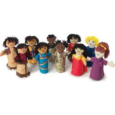 "Brand New World Multi-Cultural Puppet (10 Puppets) - PMC81 It's a small world after all with this set of 10 ethnic hand puppets. Collection includes boy and girl puppets from the American Indian, African American, Asian, Latino and Caucasian cultures. Each is approximately 11"" in height. Hand wash. 3 yrs. & up."