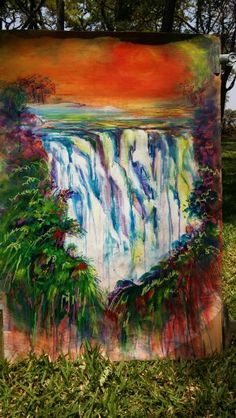 Victoria falls  acrylic on cardboard. by karin in zambia