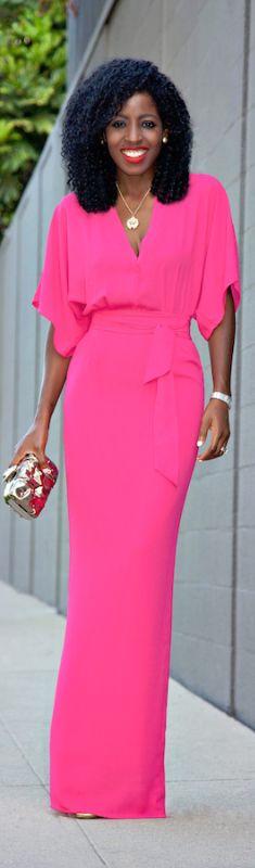 V-Neck Kimono Sleeve Maxi Dres / Fashion By Style Pantry