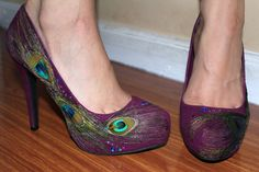 Violet Maroon Peacock Heels by ViciousElegance on Etsy, $55.20