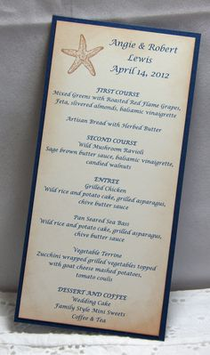 Wedding Menus / Beach Wedding Menus / Starfish Menus - set of 25. via Etsy.