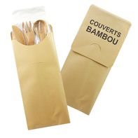 4 Piece Bamboo Cutlery Set 7.2 inch - 50 Pcs Pack