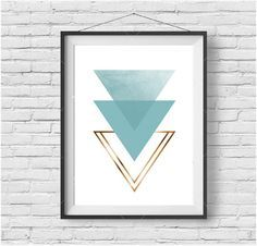 Light Turquoise Triangle Print Mint Triangle Art Mint & Gold Print Mint Decor Scandinavian Print Aztec Art Tribal Poster Mint Nursery Art