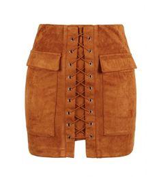 Brown Faux Suede Lace-Up Front Short Pencil Skirt Short Pencil Skirt, Suede Pencil Skirt, Suede Mini Skirt, High Waisted Pencil Skirt, Pencil Skirts, Pencil Dresses, Laurel Burch, Lace Up Skirt, Denim Skirt