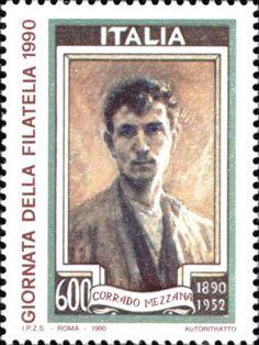 1990 - Giornata della Filatelia - Autoritratto di Corrado Mezzana, autore di numerosi bozzetti di francobolli italiani