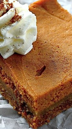 Greek Yogurt Pumpkin Pie Bars Recipe ~ This pumpkin pie is made in bar form (so much easier!), and the batter is enhanced by a FULL cup of creamy, dreamy Greek yogurt.
