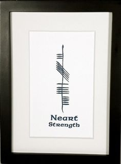 Strength (Neart) presented in a deep shade of teal ogham.