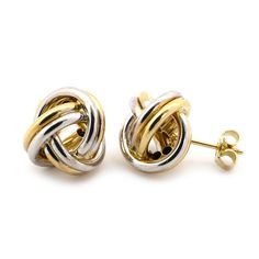 14k White and Yellow Gold 14mm Large Shiny Love Knot Earrings