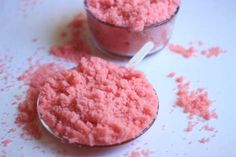 DIY Body Scrub - Pink Orange Body Scrub  * 1 cup light brown sugar  * 1 cup white sugar  * ½ cup olive oil  * 10 drops pink food coloring * 5 drops sweet orange essential oil
