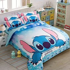 Kids& Duvet Cover Sets - MeMoreCool Classic Cartoon Characters Blue Stitch Bedding Cotton Boys and Girls Duvet Cover SetSoft FlatFitted Sheet Set * Continue to the product at the image link. Stitch Disney, Lilo E Stitch, Cute Stitch, Cute Bedroom Ideas, Cute Room Decor, Lilo And Stitch Quotes, Girls Duvet Covers, Blue Bedroom Decor, Bedclothes
