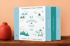 """Before & After"" - Modern, Beach Minibook Wedding Invitations in Ocean Blue by Jennifer Wick."