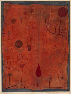 """Paul Klee: """"Früchte auf rot"""", 1930, Aquarell, Pinsel und Feder auf Seide auf Karton, 61,2 x 46,2 cm"""
