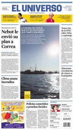 Portada de #DiarioELUNIVERSO este miércoles 25 de septiembre del 2013 Las noticias del día en: www.eluniverso.com