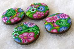 Bright tropical/floral buttons (polymer clay).