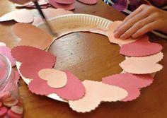 Valentines wreath kids diy