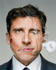 Picture of Steve Carell with clear tape wrapped around his head, the spool hanging off of his face