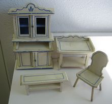 Antique German Kitchen Gottschalk dollhouse miniature matching furniture