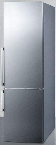 """Summit FFBF247SSIM 24"""" Counter Depth Bottom Freezer Refrigerator Stainless Steel"""