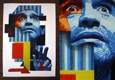 ORTICANOODLES | 2011 La Mano de Dios | portrait of Diego Armando Maradona | Ed. 9/15 | Stencil on Paper | 70x100 cm